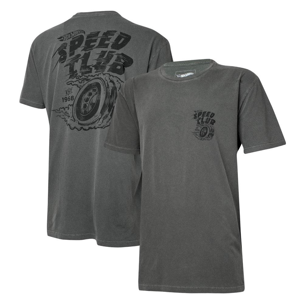 Camiseta Masc. Hot Wheels Gear Head Speed Club Estonada - Preta