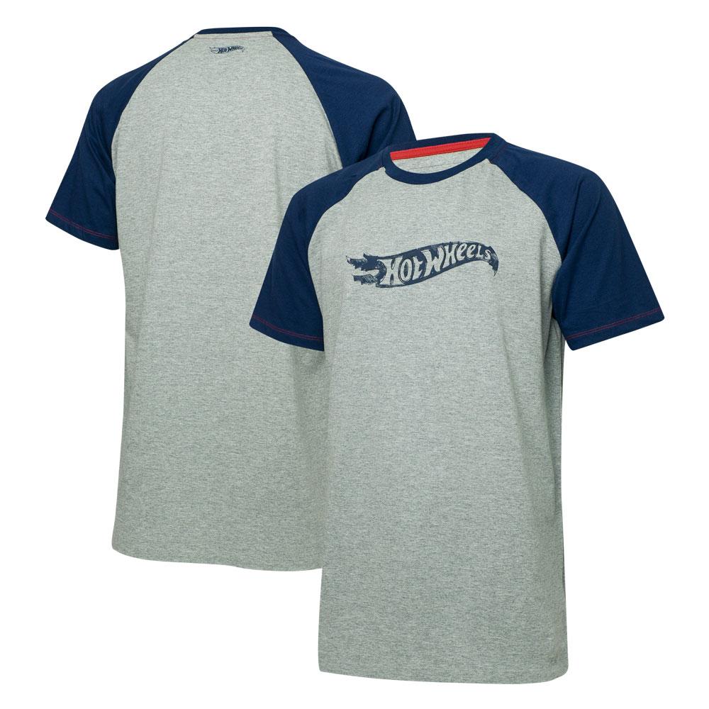 Camiseta Masc. Hot Wheels Logomania Raglan - Cinza Mescla/Azul