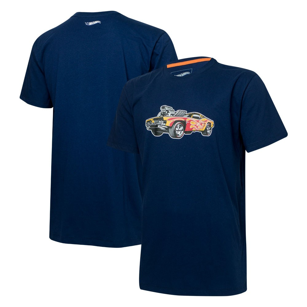 Camiseta Masc. Hot Wheels Tracks Supercharger Blower - Azul