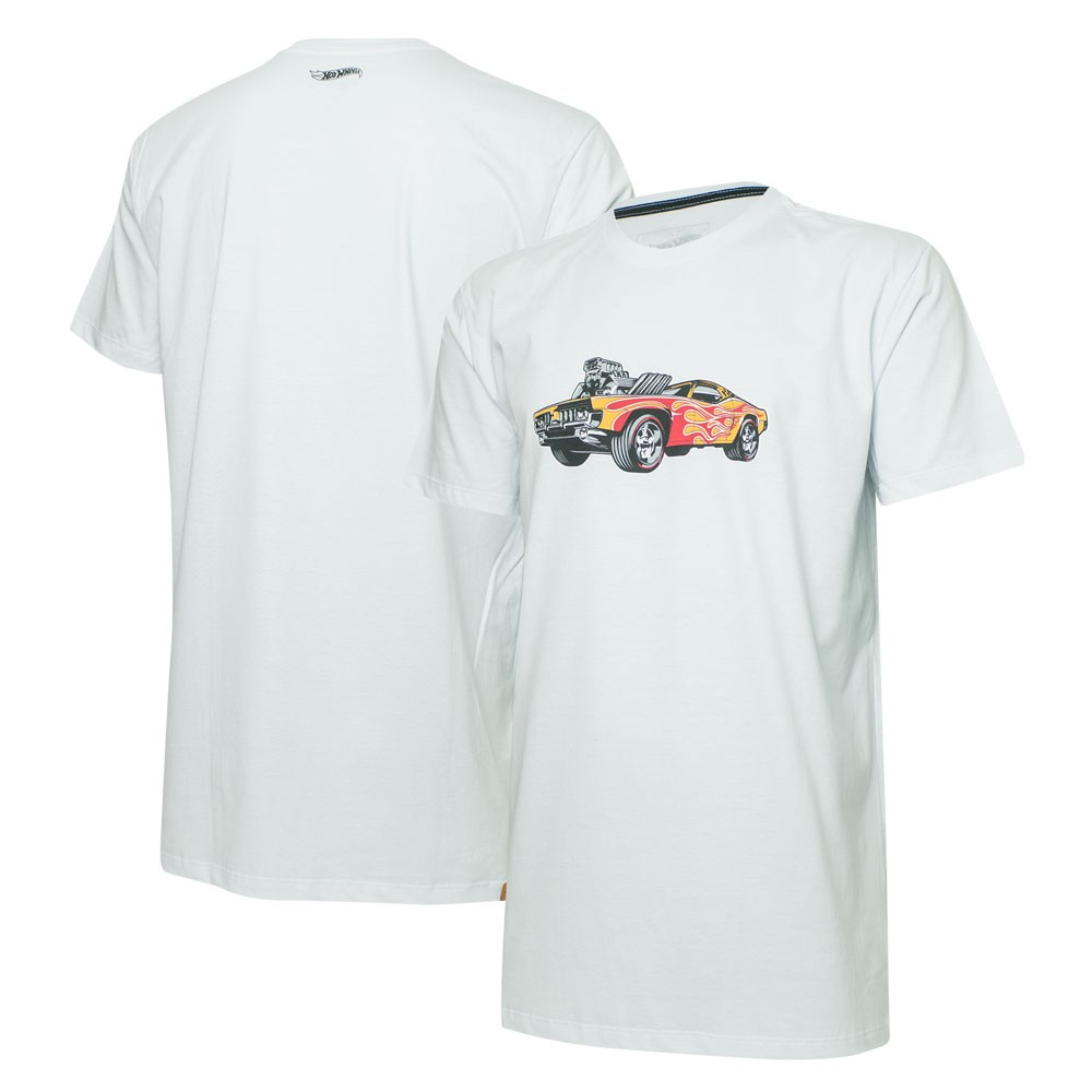 Camiseta Masc. Hot Wheels Tracks Supercharger Blower - Branca