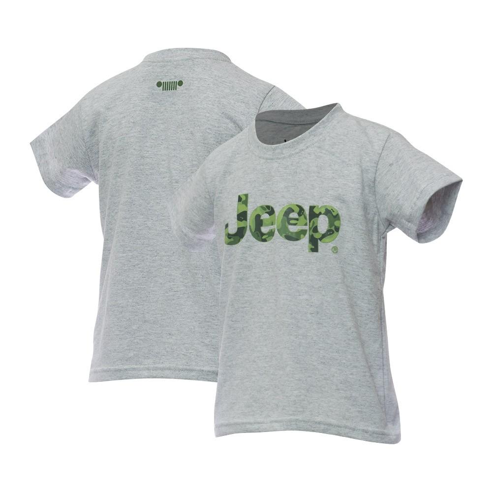 Camiseta Inf. JEEP Logo Camuflado - Cinza Mescla