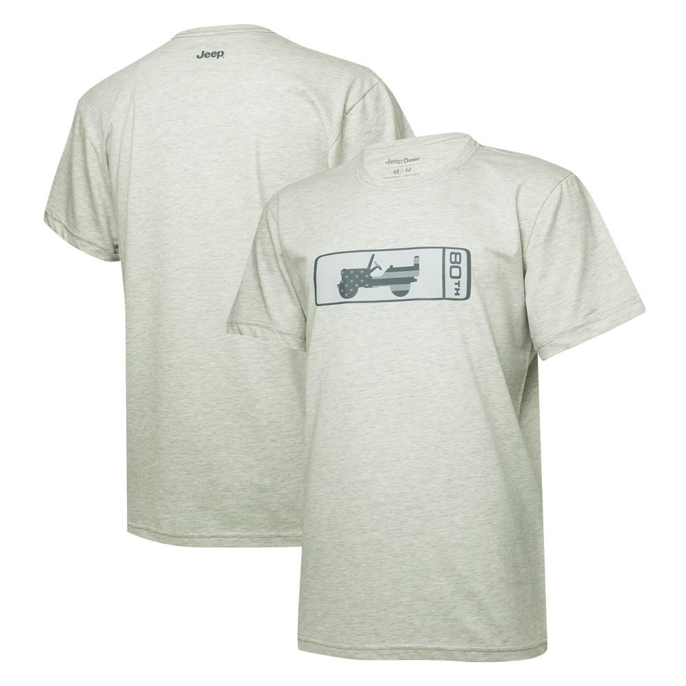Camiseta Masc. JEEP 80th Anniversary Badge - Cinza Mescla