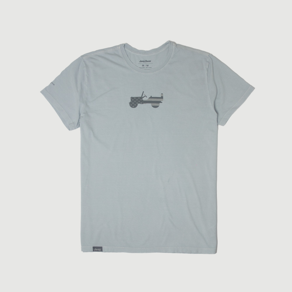 Camiseta Masc. JEEP 80th Anniversary Estonada - Cinza Claro