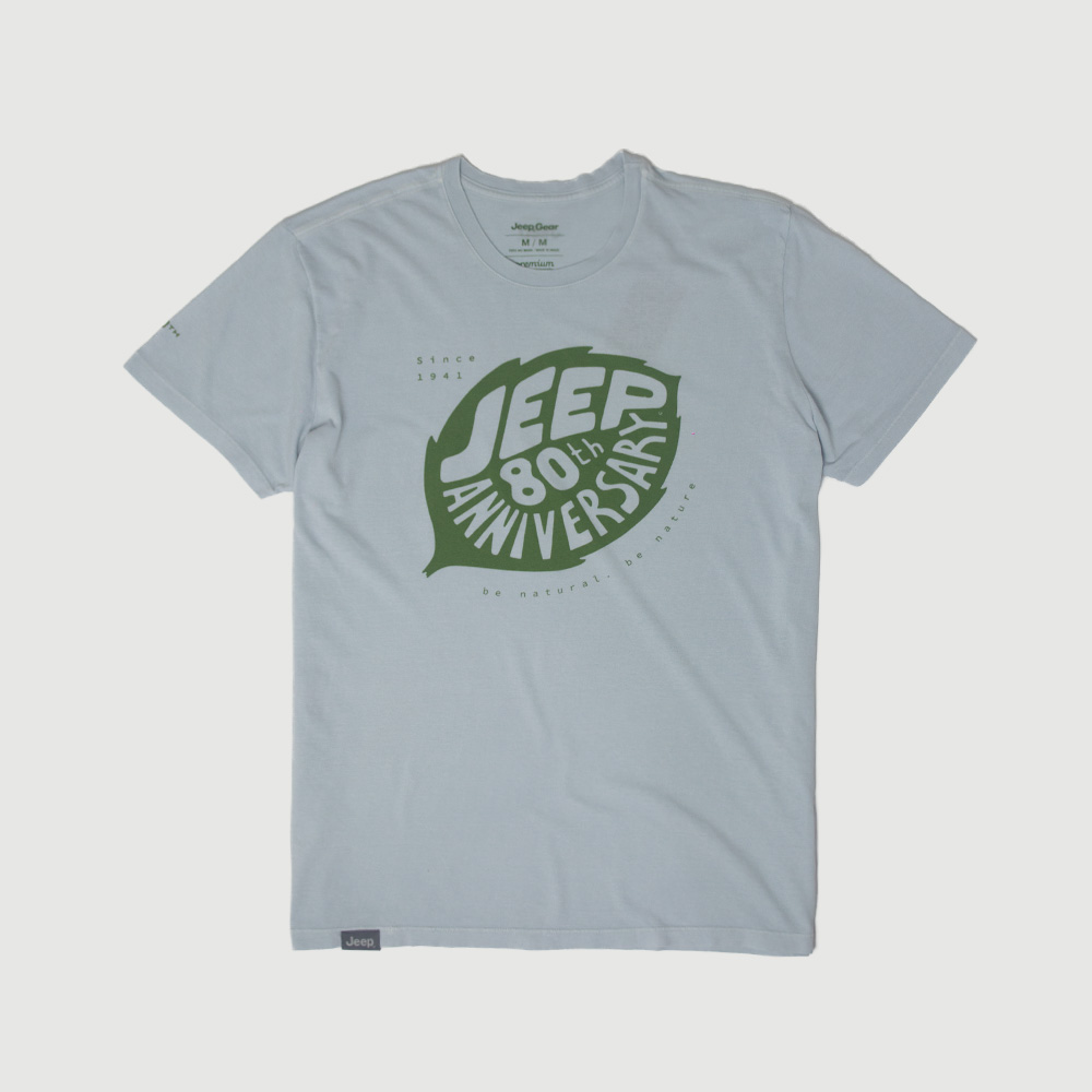 Camiseta Masc. JEEP 80th Anniversary Leaf Estonada - Cinza Claro