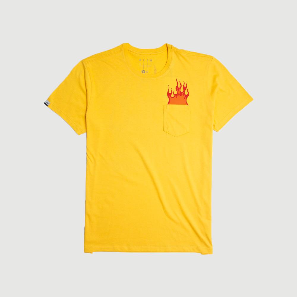 Camiseta Masc. c/ Bolso Chevrolet Stock Car Flames - Amarela