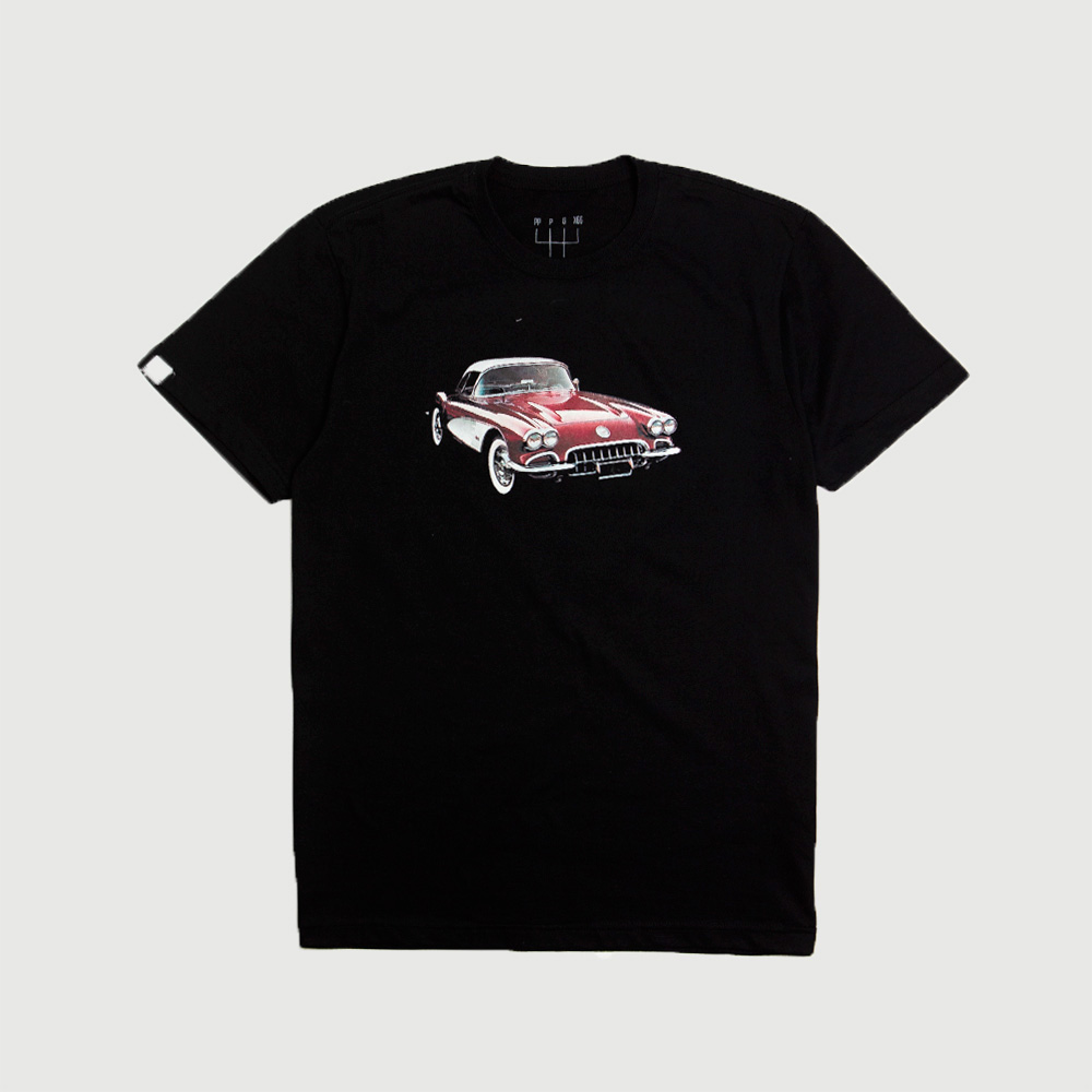 Camiseta Masc. DTG Chevrolet Corvette 1959 - Preto