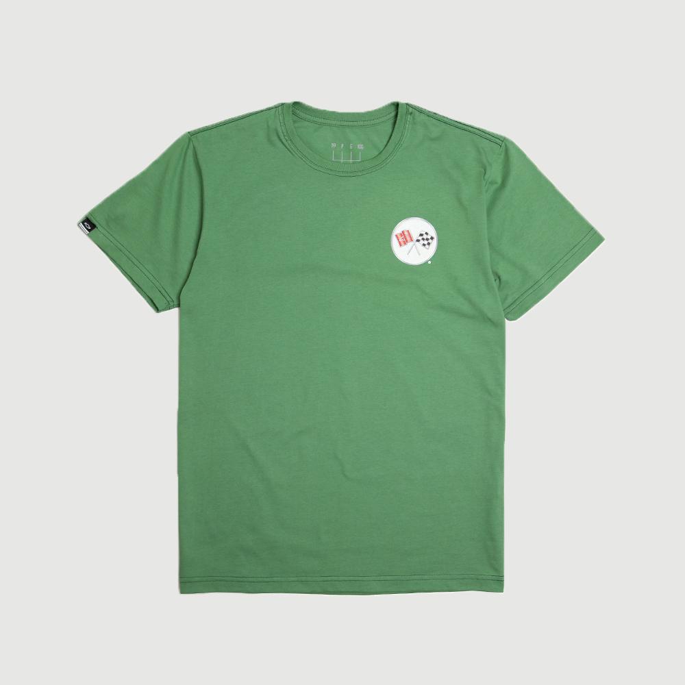 Camiseta Masc. DTG Chevrolet Corvette Badge - Verde