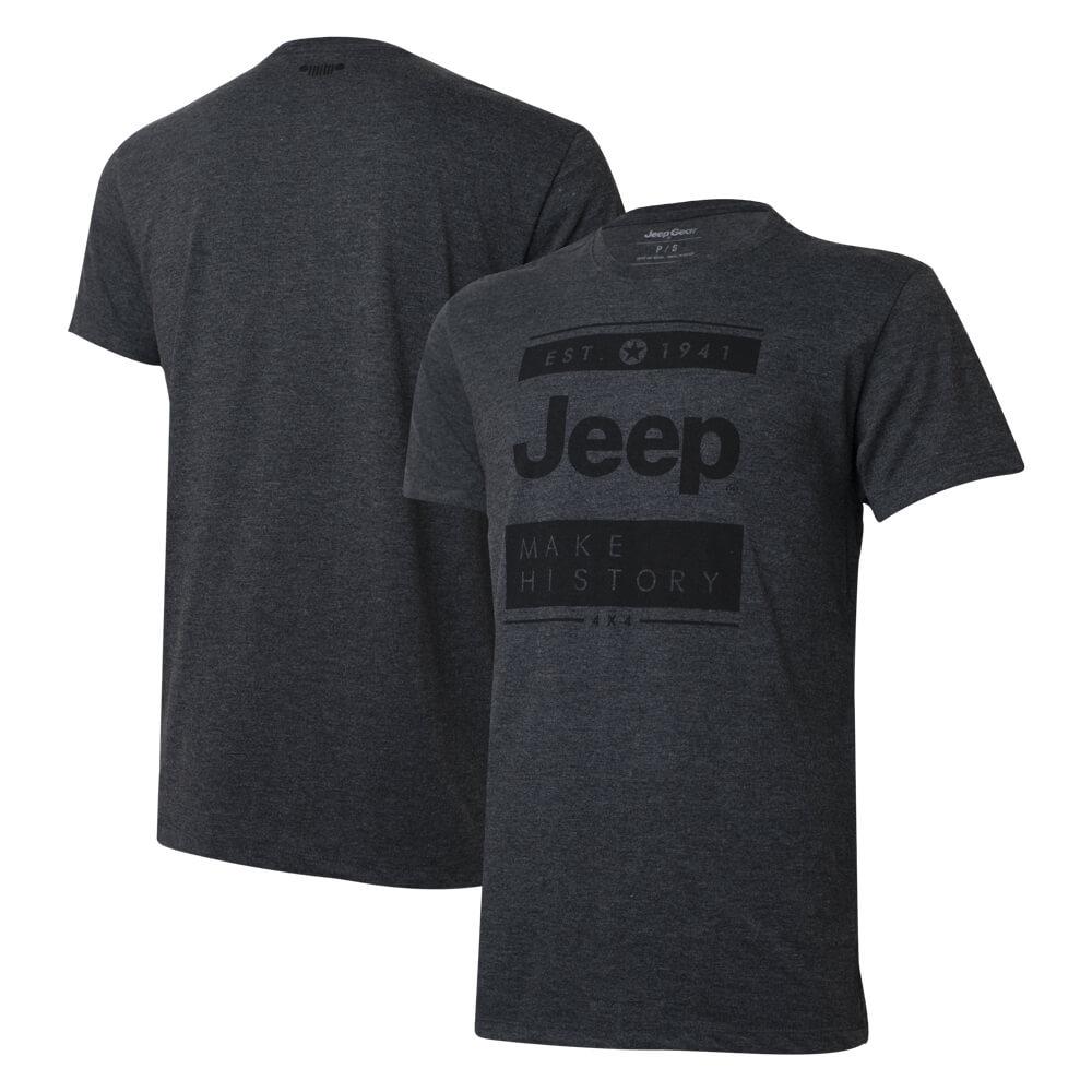 Camiseta Masc. Especial JEEP Block - Preto Mescla