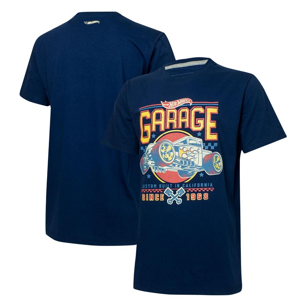 Camiseta Masc. Hot Wheels Garage - Azul