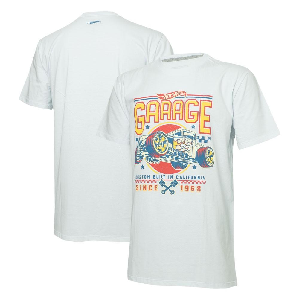Camiseta Masc. Hot Wheels Garage - Branca