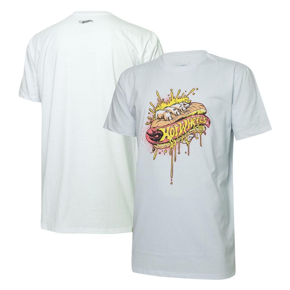 Camiseta Masc. Hot Wheels Hot Dog - Branca