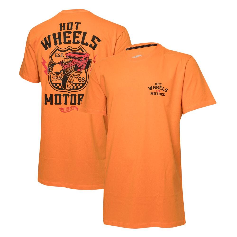 Camiseta Masc. Hot Wheels Motors - Laranja