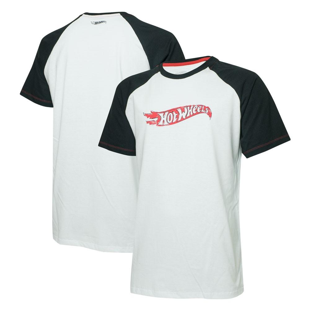 Camiseta Masc. Hot Wheels Raglan - Branca