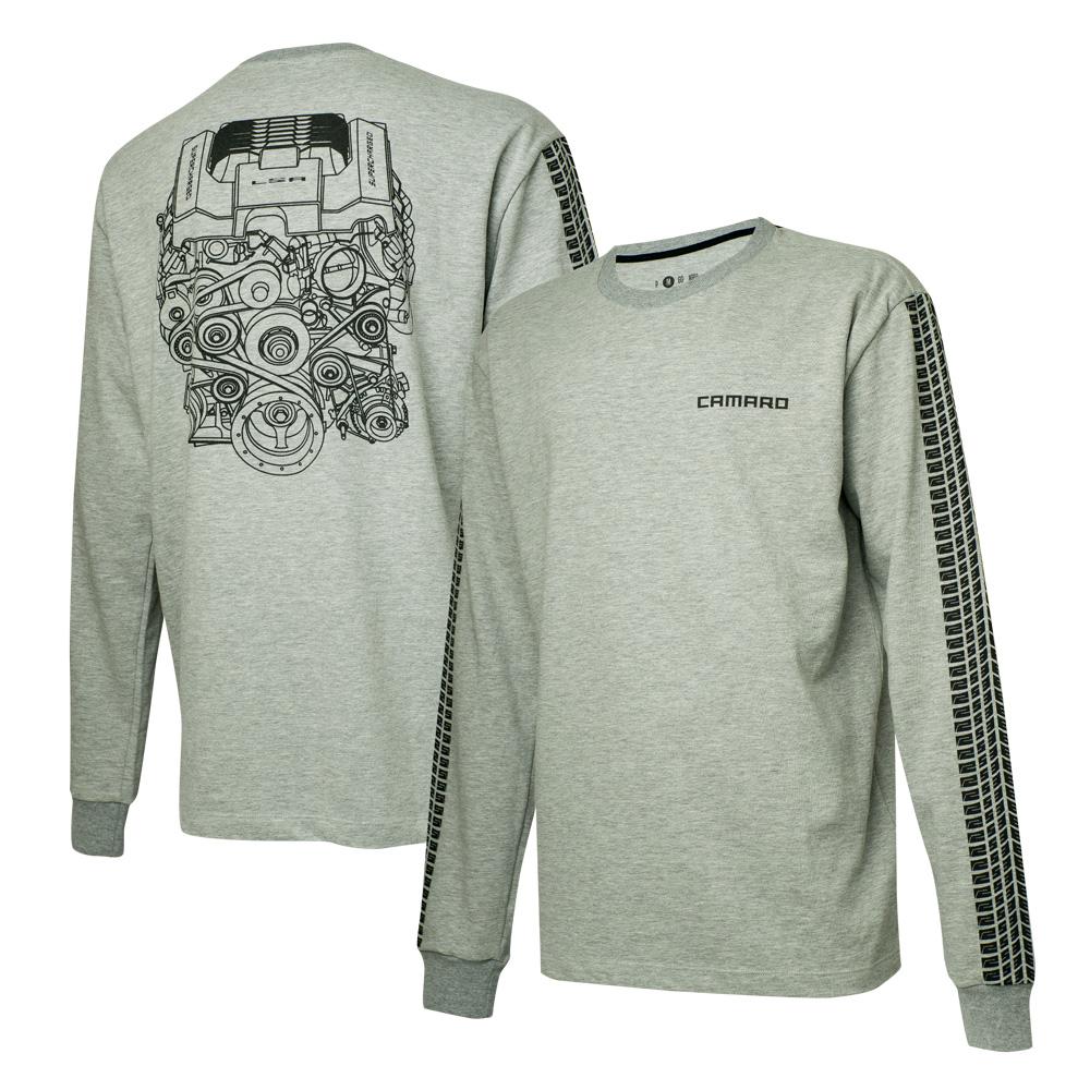 Camiseta Masc. Manga Longa Chevrolet Camaro Engine - Cinza Mescla