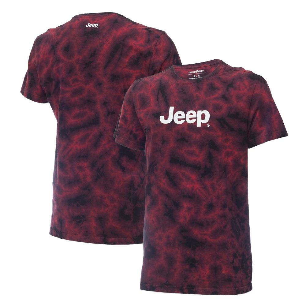 Camiseta Masc. Premium JEEP Lavada TieDye Logo - Vermelha