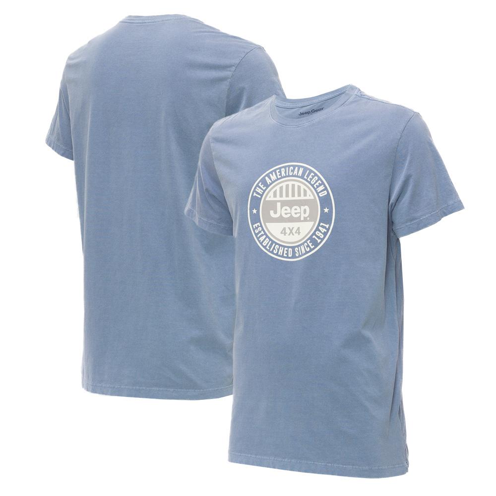 Camiseta Masc. Premium JEEP Lavada Estonada Round - Azul