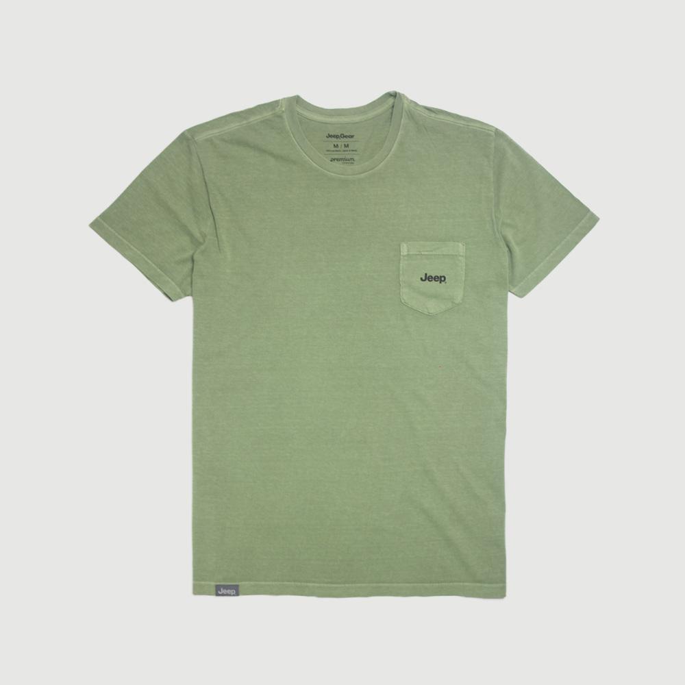 Camiseta Raglan c/ Bolso JEEP 80th Anniversary Block Estonada - Verde Militar