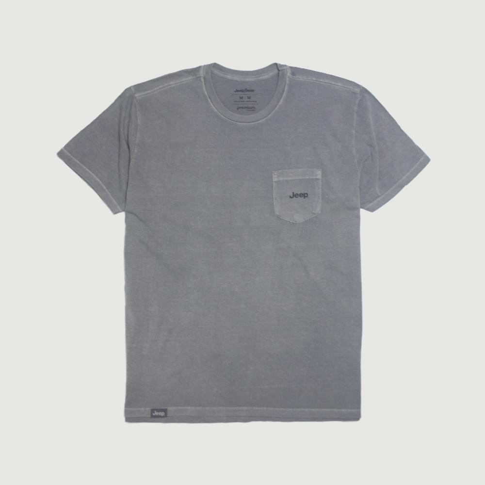 Camiseta Raglan com Bolso JEEP 80th Anniversary Block Estonada - Chumbo