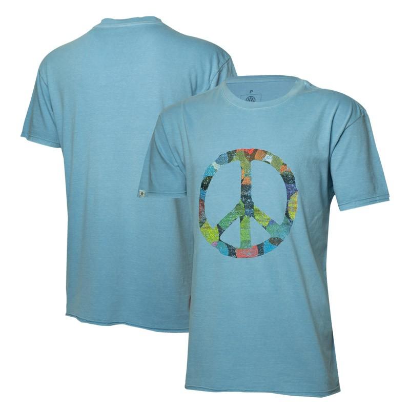 Camiseta VW Freedom Colorful Peace Estonada - Azul