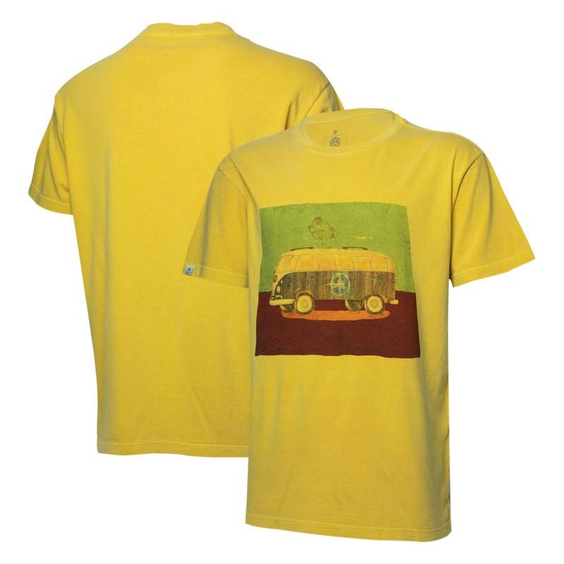 Camiseta VW Freedom Wall Poster Estonada - Amarelo