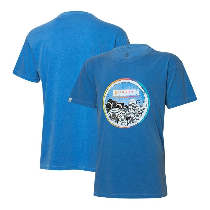 Camiseta VW Freedom Waves Estonada - Azul