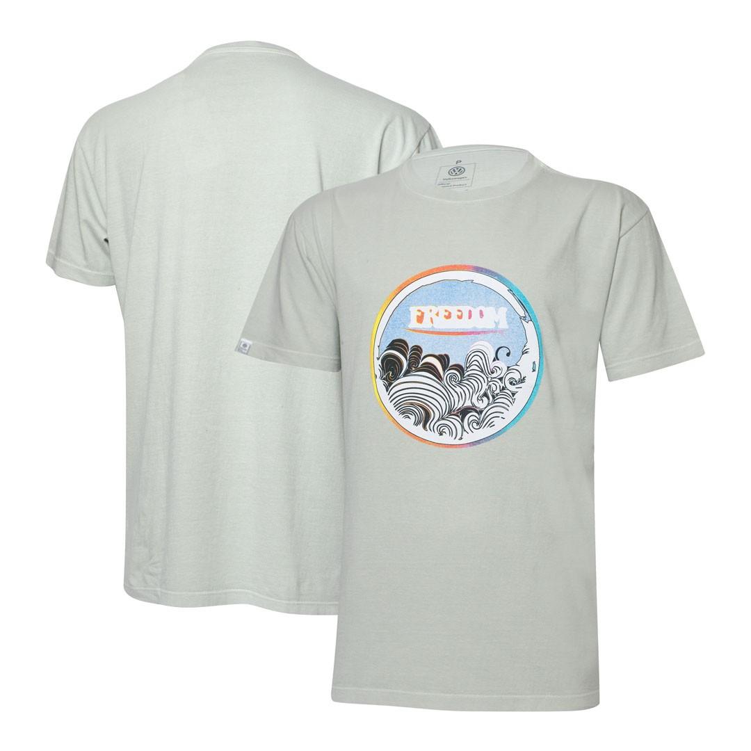 Camiseta VW Freedom - Waves Estonada - Cinza