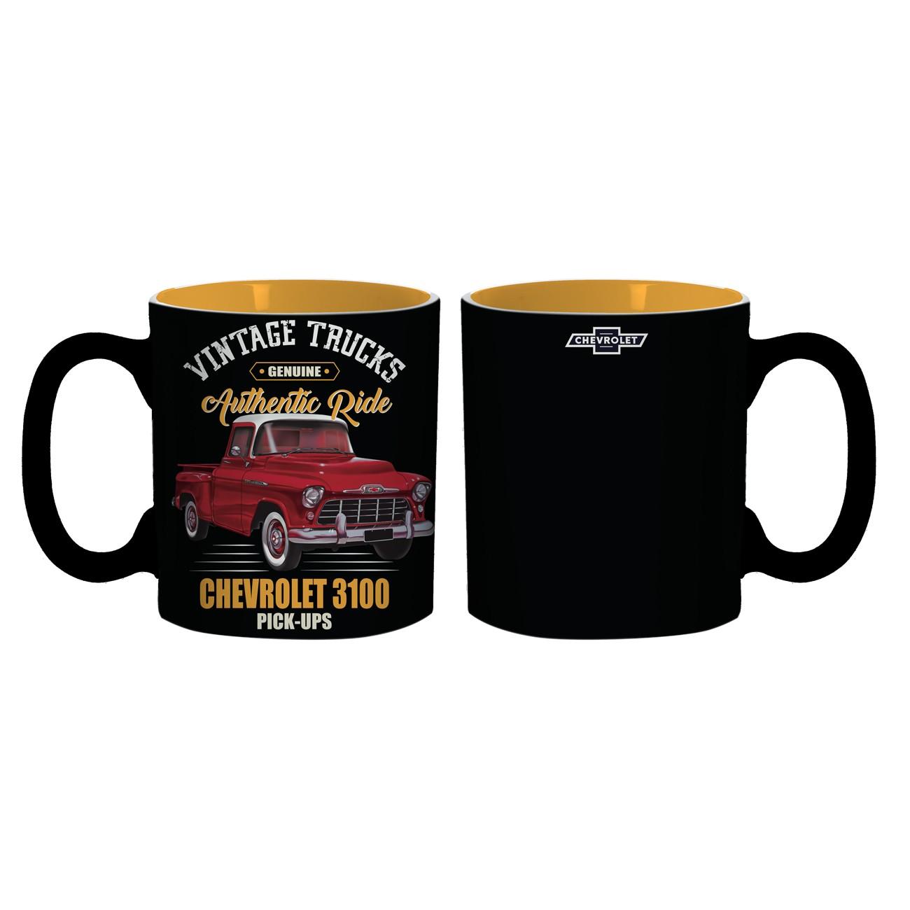 Caneca Chevrolet - Vintage Trucks - 3100 - Preto / Amarelo - 300 ml