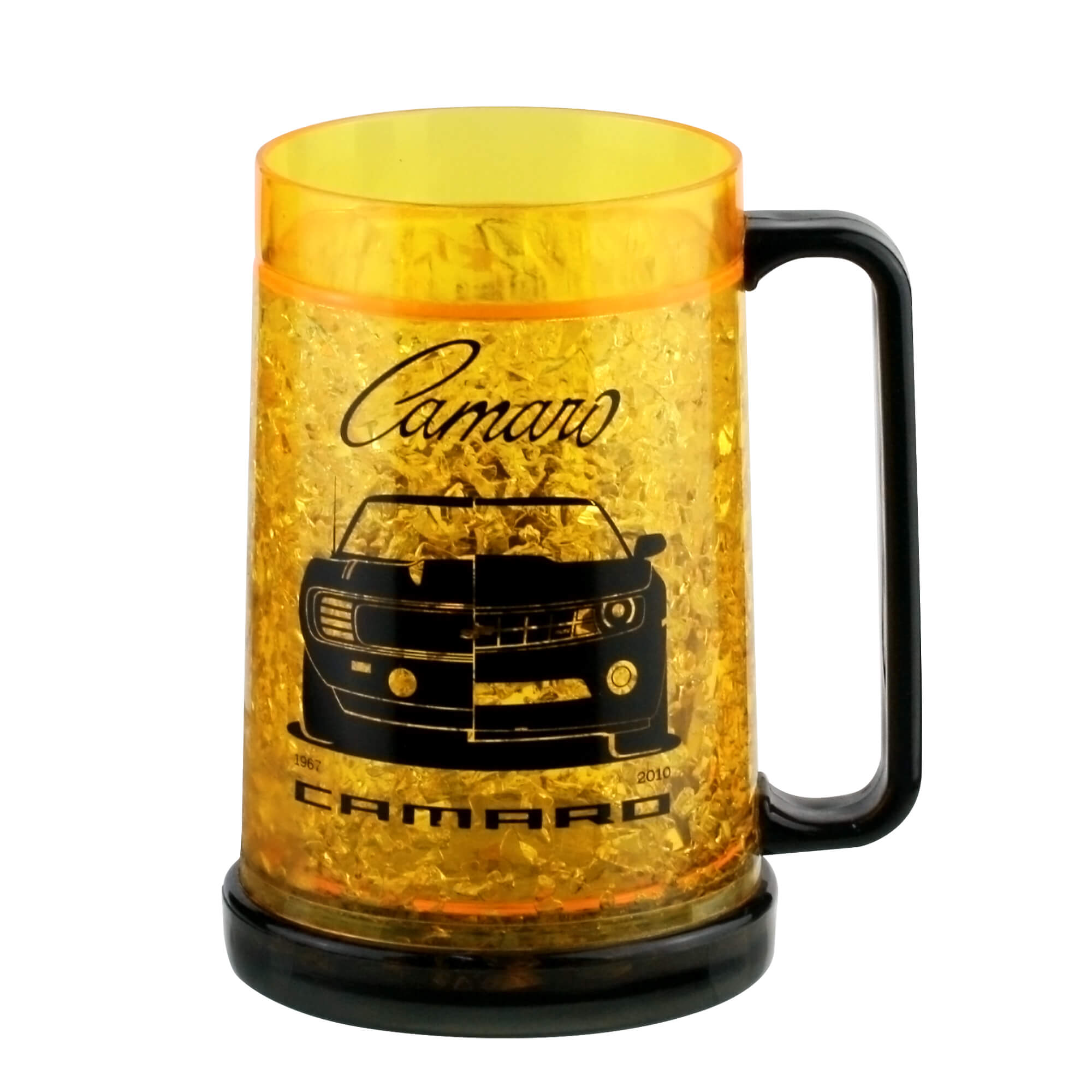 Caneca de Chopp de Plástico e Gel Chevrolet - Camaro - Amarela - 450 ml