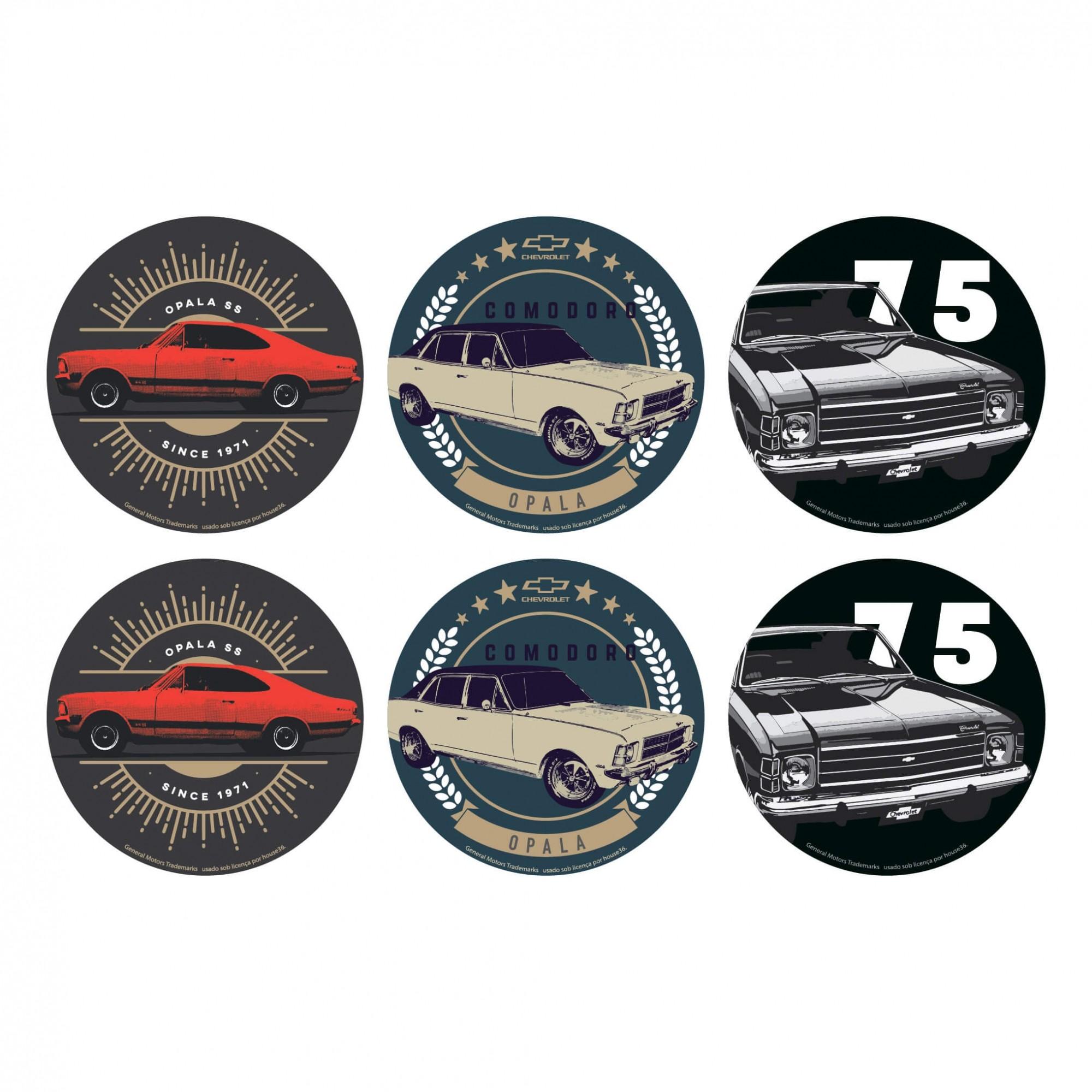 Jogo de Porta Copos Sortidos de Cortiça Chevrolet - Opalas