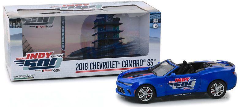Miniatura Chevrolet Camaro SS Conversível INDY 500 2018 1:24 - Azul
