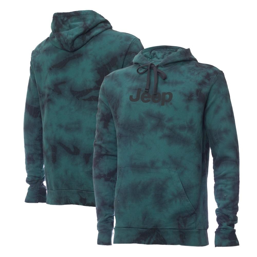 Moletom Canguru JEEP - Lavada Tie-Dye - Logo - Verde