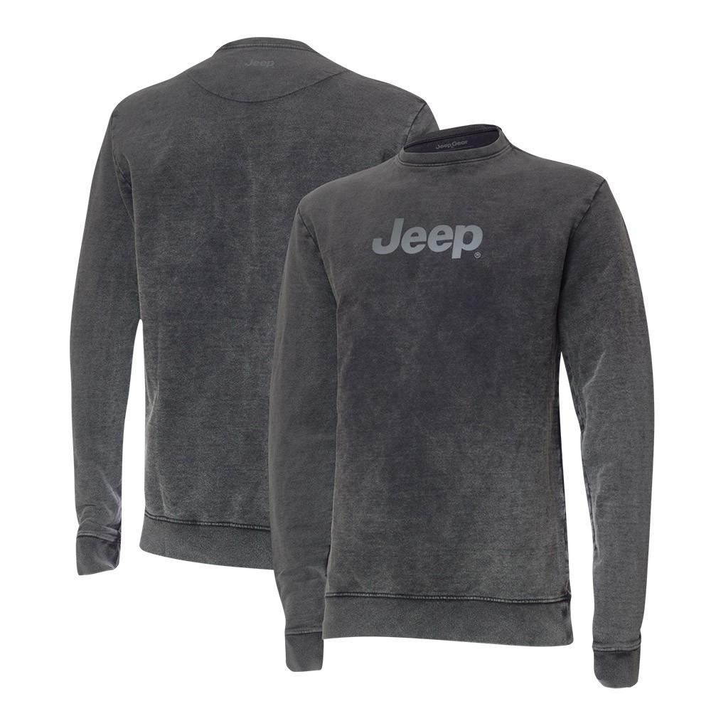 Moletom Premium JEEP - Lavado Marmorizado - Logo - Preto