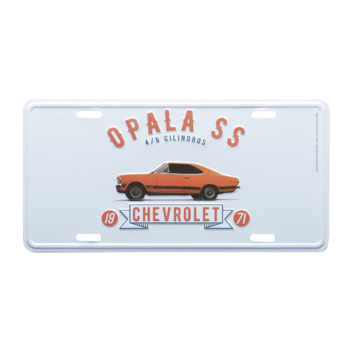 Placa de Alumínio Chevrolet - Opala 1971 - Prata / Laranja