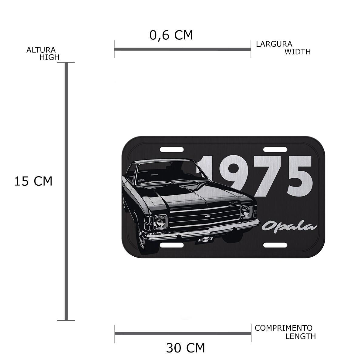 Placa de Alumínio Chevrolet - Opala 1975 - Preto