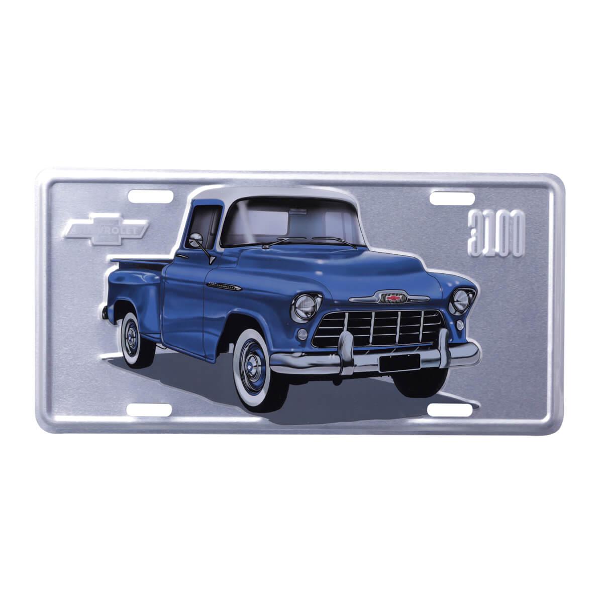 Placa de Alumínio Chevrolet - Pick up 3100 - Prata / Azul