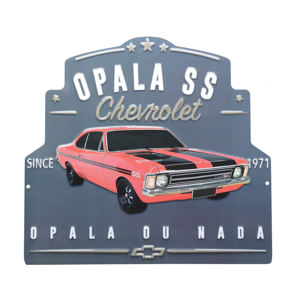 Placa de Alumínio com Recorte Chevrolet - Opala 1971 - Prata / Laranja