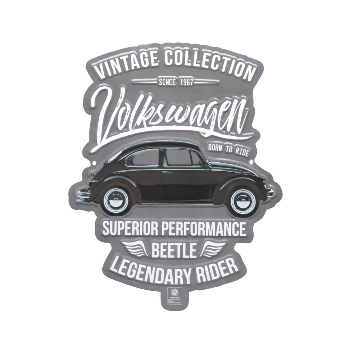 Placa de Alumínio com Recorte VW - Fusca Legendary Rider - Prata