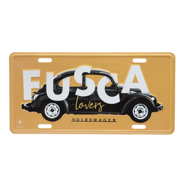 Placa de Alumínio VW - Fusca Lovers - Amarelo