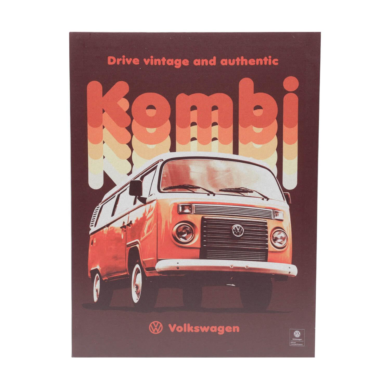 Placa de Alumínio VW - Kombi Vintage - Branco / Vermelho