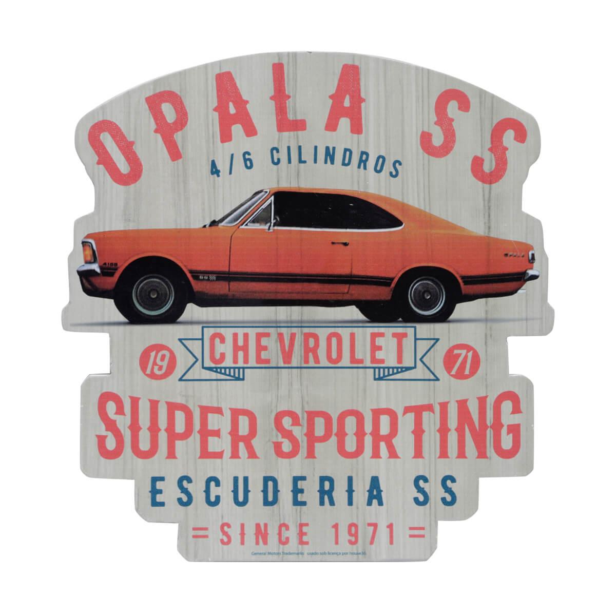 Placa de Madeira Chevrolet - Opala 1971 - Laranja