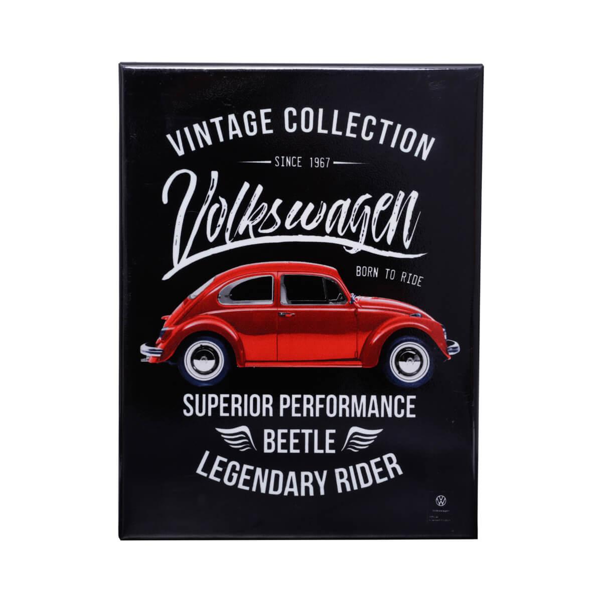 Placa de Metal VW - Fusca Born to Ride - Preto