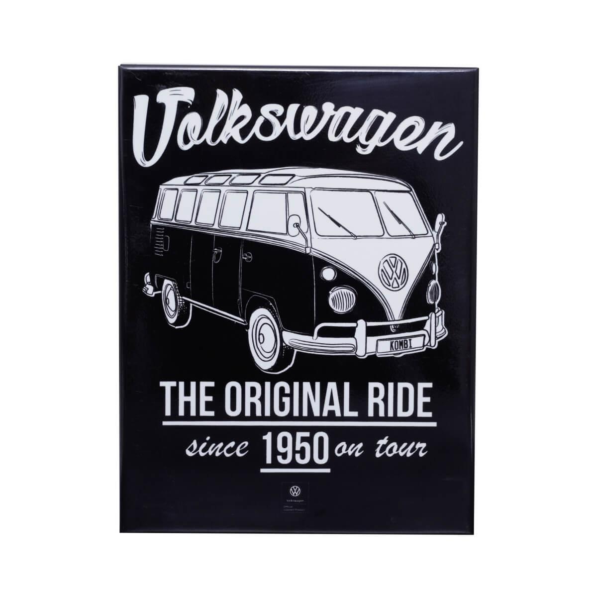 Placa de Metal VW - Kombi Original - Preto