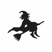Arquivo de Corte - Bruxa na Vassoura Silhueta