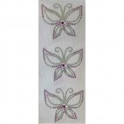 Desenho em Strass Termodinâmico Fast Patch - Pronto para Uso -Borboleta lilas-7x4,5cm