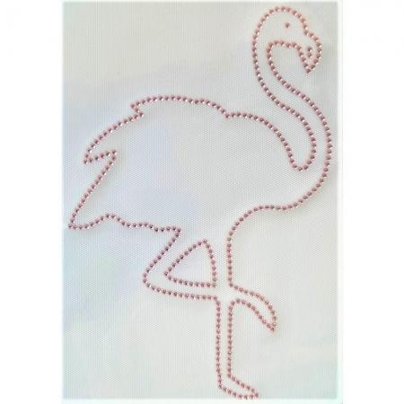 Desenho em Strass Termodinâmico Fast Patch - Pronto para Uso -Flamingo-18,5x20cm