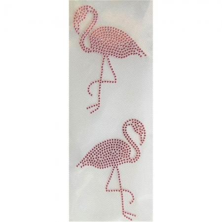 Desenho em Strass Termodinâmico Fast Patch - Pronto para Uso -Flamingo espelhado-9x11,5cm