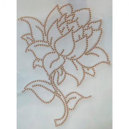 Desenho em Strass Termodinâmico Fast Patch - Pronto para Uso -flor adalia-19x25cm