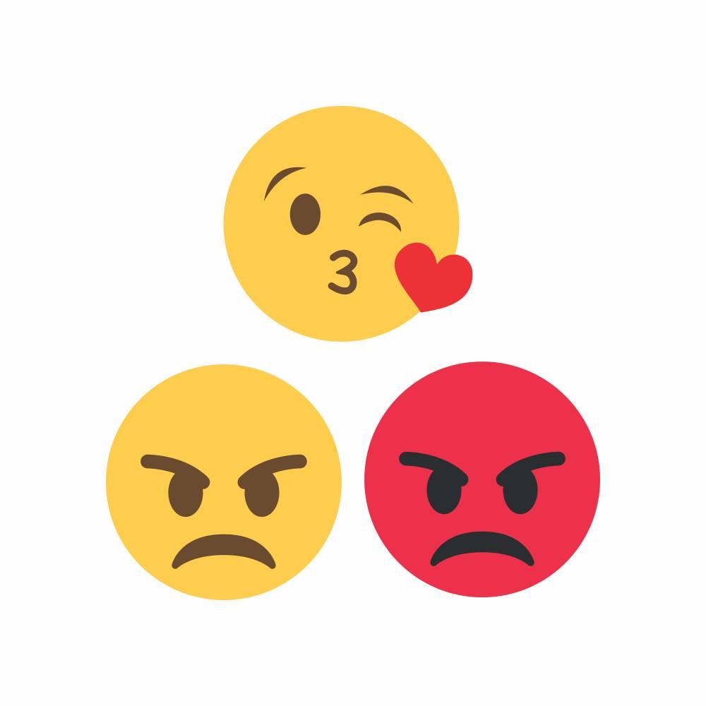 Arquivo de Corte - Emoji Beijo Coração e Bravo