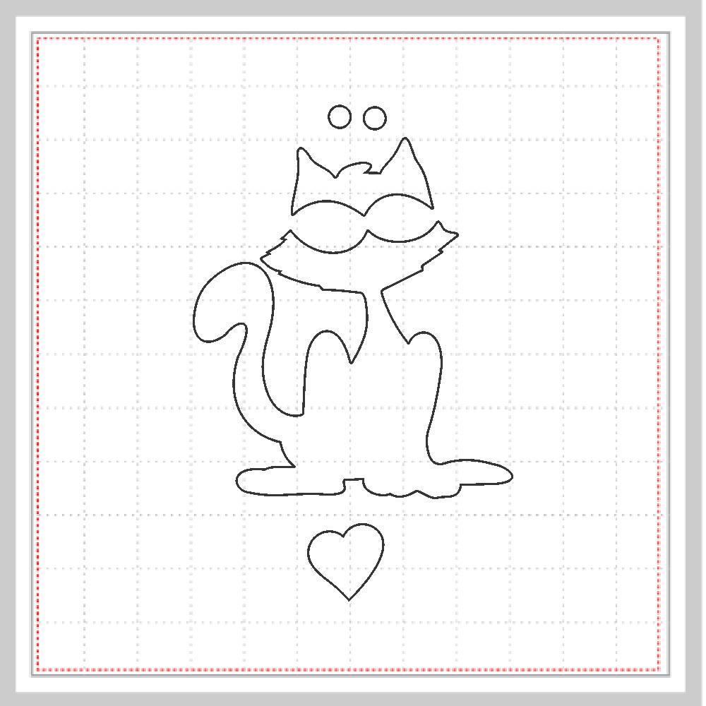 Arquivo de Corte - Gato Coração