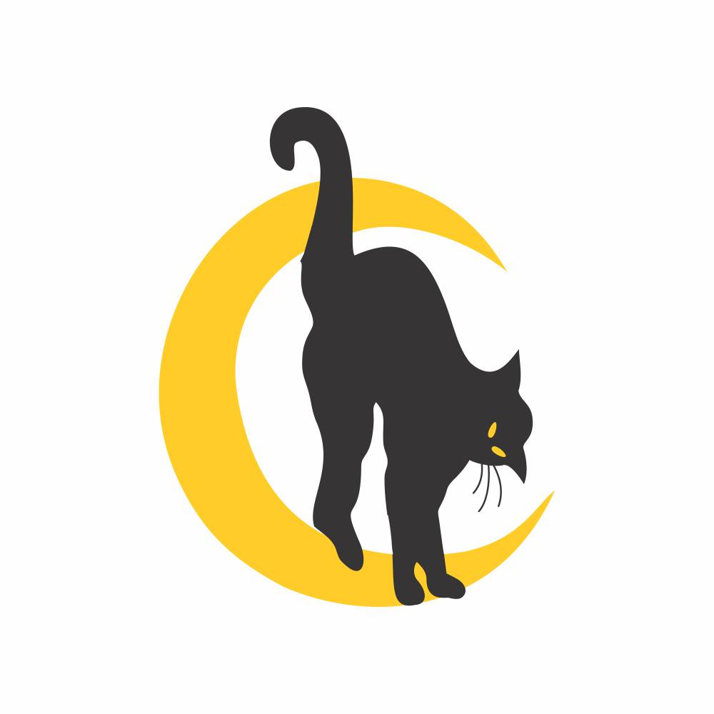 Arquivo de Corte - Gato preto e Lua